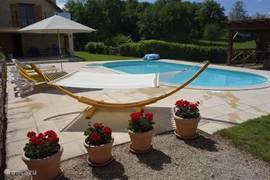 Heerlijke hangmat aan het zwembad.