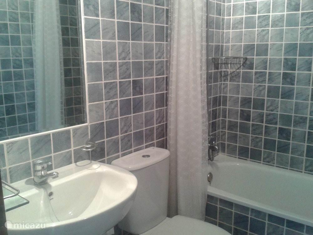 In de badkamer is een bad met douche, een wastafel, een bidet en een toilet.