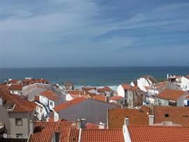Uitzicht vanaf het dakterras over de huisjes.