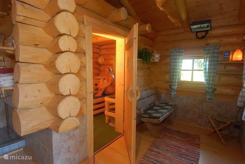 Rugged outdoor sauna.