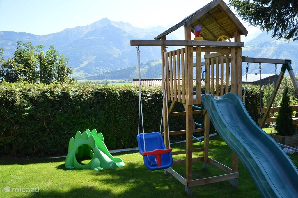 Playground with swings and trampoline