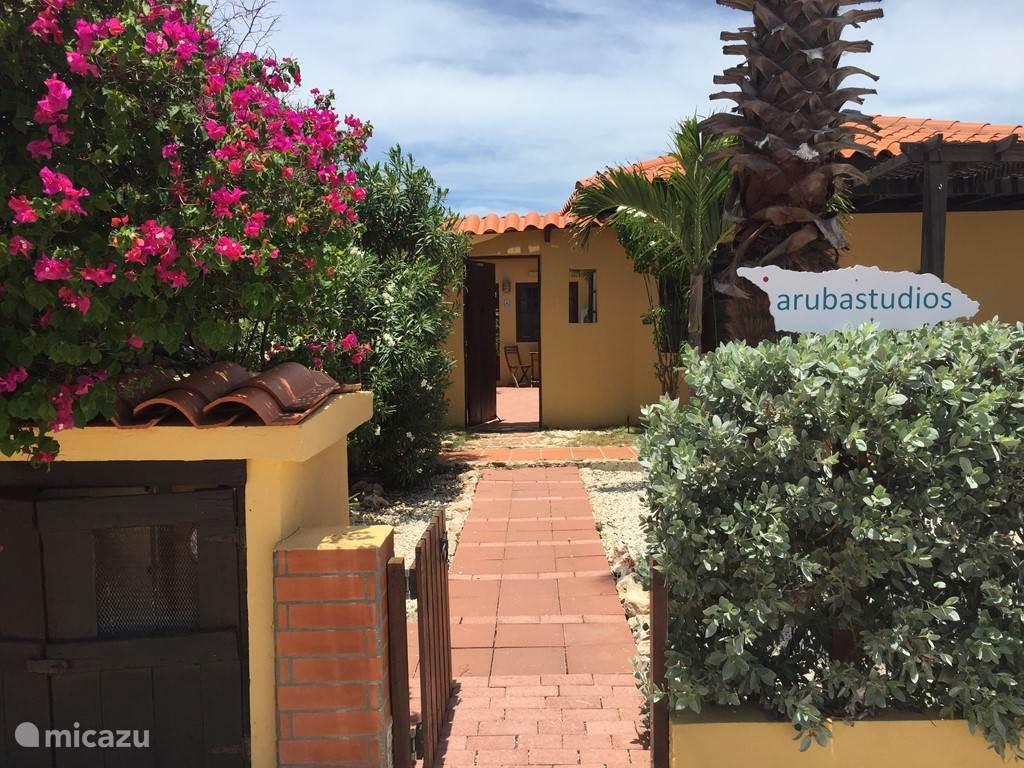 Willkommen auf Aruba Studios! Der Eingang zu den Apartments.