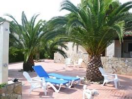 ligbedden rondom zwembad aanwezig, alsmede gemakkelijk leunstoelen. Dit terras is gemeenschappelijk voor de 3 bungalows