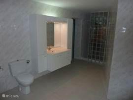 zeer ruime badkamer, met  een walk-in douche welke is afgescheiden door middel van glasstenen wand, waardoor de badkamer gebruikt kan worden, ook als er gedoucht wordt