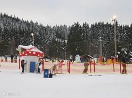 Oefenweide van skigebied Säfsen. Waar leuk les gegeven word aan jong en oud.