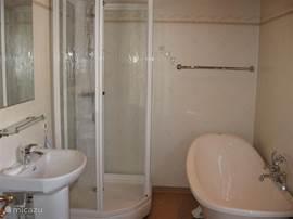 De complete badkamer met ligbad doechecabine en wasbak met kastjes.Ook een toilet is hier aanwezig.