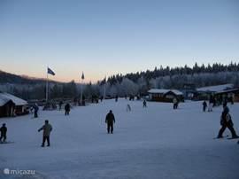 Skigebied Säfsen Ski`s kun je hier huren en er is een winkel voor alles op skigebied. Er kunnen ook lessen gevolgd worden