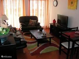 woonkamer volledig ingericht met o.a. airco flatscreen,dvd speler etc