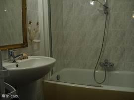 Badkamer 1. met bad, douche en douchescherm en wastafel.