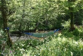 luierplaats langs de rivier in de schaduw van het groen