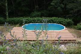 The pool followed by the wooden deck