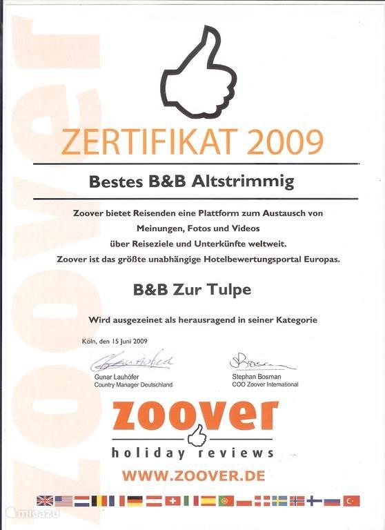 ZOOVER AWARD WINNER 2009,10,11,12,13 en 2014