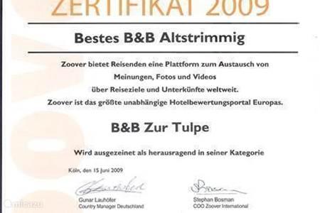 AWARD  BESTE BED & BREAKFAST 2009, 2010,  2011, 2012