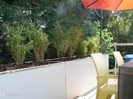 Die Terrasse war Heiden von einem großen Pflanzkübel geschnitten.