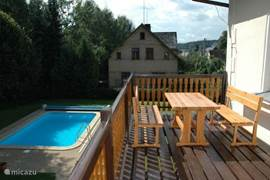 View from the balcony (terrace) to garden with private pool
