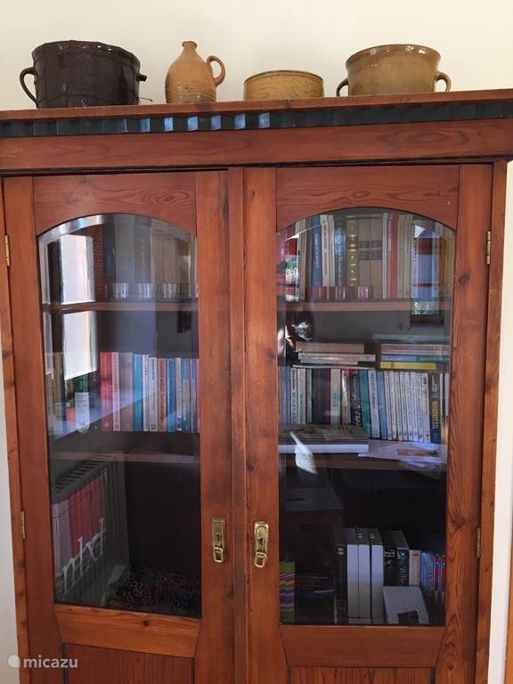 Antique bookcase in the living room with games, books and videos