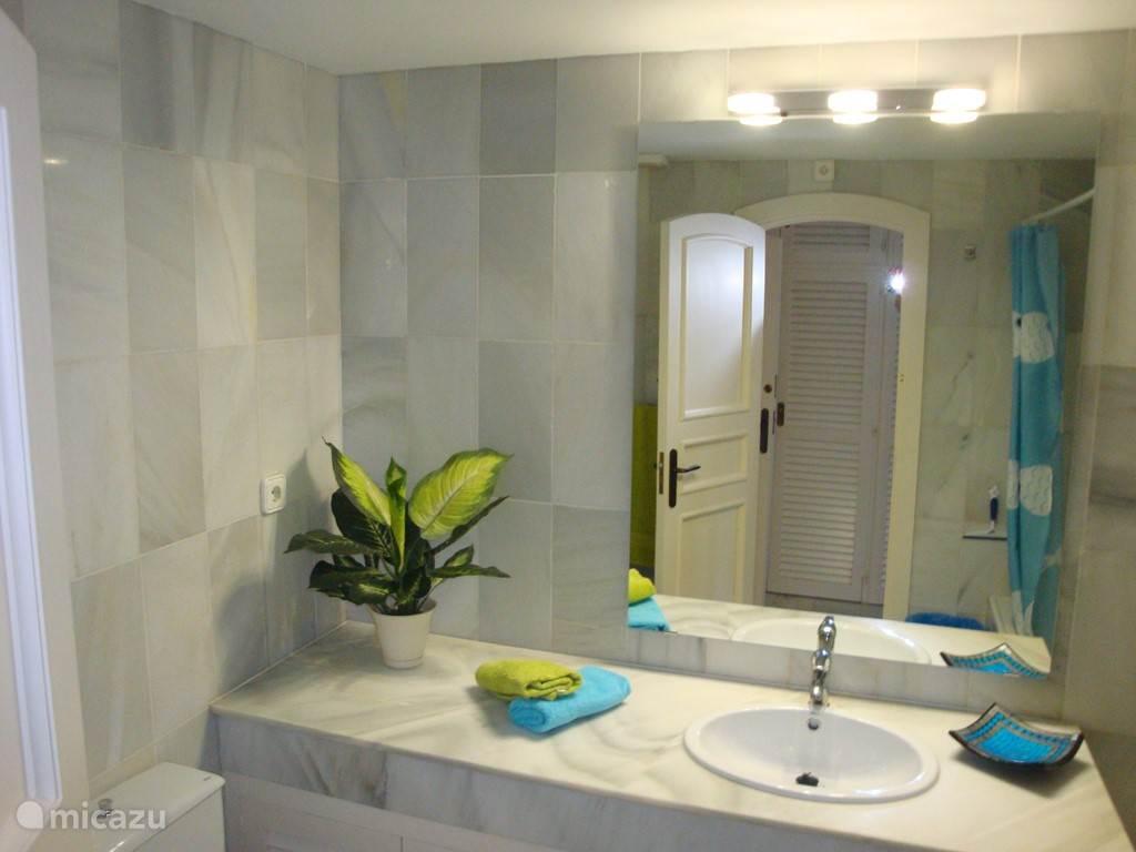 Badkamer 1 is en suite en heeft een douche in het ligbad en een toilet en bidet