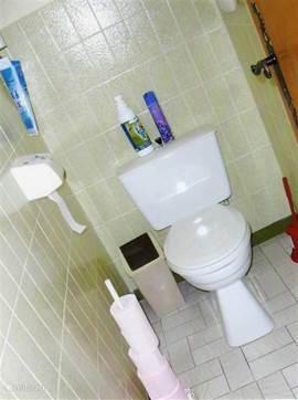 w.c. in badkamer met bad in nieuw gedeelte huis
