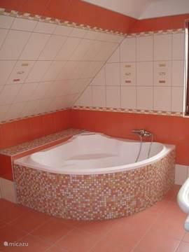 Badkamer 1 op etage met giga ligbad en prachtig toilet meubel.Handdoeken zijn voldoende aanwezig. Bij de huurprijs inbegrepen.