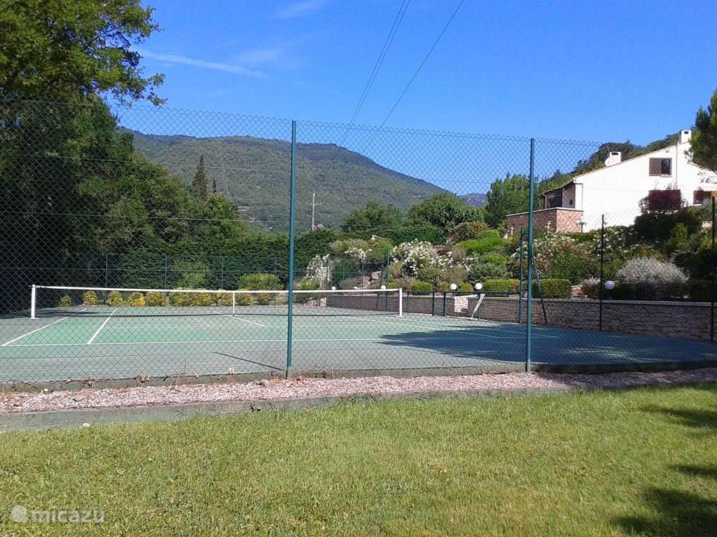 Tennisbaan op eigen terrein