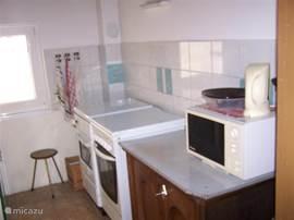 De rechter zijde van de keuken met houtkachel/fornuis, combi elektrisch/gas fornuis en bakoven. Magnetron.