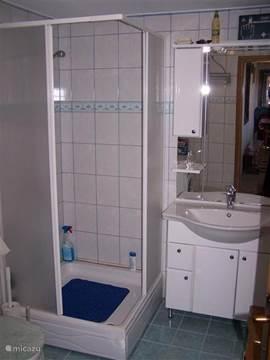 De badkamer met extra ruime douchecabine, wastafel. Niet zichtbaar links een toilet met daarnaast de wasmachine.