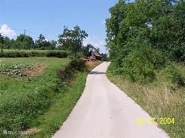 Zeer rustige weg op 70 meter achter het huisje, die naar het volgende dorpje loopt en uiteindelijk doodlopend is.