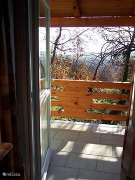 Deur van woon/slaapkamer naar terras met uitzicht over de bossen richting zuid-oosten. In dit geval in de winter.