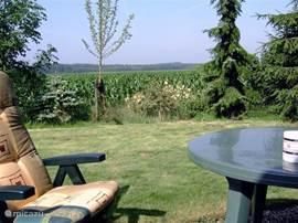 Uitzicht vanaf zuidwest gelegen terras over bossen en landerijen. Terrastafel met 4 kuipstoelen en 4 standenstoelen met kussens.