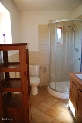 De badkamer beneden heeft een douchecabine, wastafel, toilet en hier staat ook de kleine wasmachine die u mag gebruiken. Heel fijn voor uw vakantiewasjes!