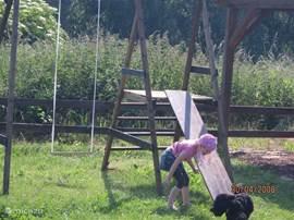 In de tuin is er volop gelegenheid om te spelen. Behalve het speeltoestel is er een zandbak met speelgoed en een badminton/volleybalnet (met plastic rackets)Er is geen (voet-)bal.