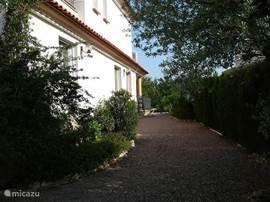 Zijkant van het huis en gedeelte van de tuin.