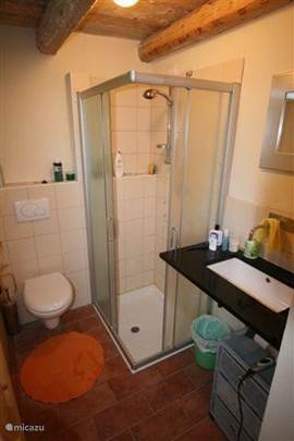 Badkamer op de begane grond, in de bijkeuken is nog een 2e WC