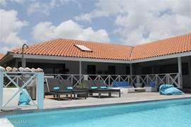 Direct aan zee heerlijk genieten van adembenemend zeezicht, voorbij vliegende flamingo's en springende dolfijntjes! Een ruime porch met hangmat, groot pooldeck met BBQ met lekkere zonnebedden bij het grote prive-zwembad.