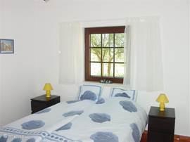 Blauwe Slaapkamer voor 2 personen op de beneden verdieping met voldoende kledingkasten