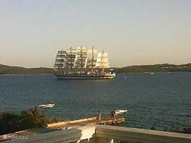 From our balcony there is a great view of passing ships