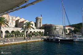 The construction site of the foot ferry. The foot ferry sails daily to Korcula vv.