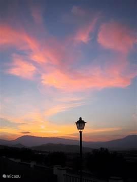 zonsondergang, uitzicht vanaf voorterras