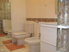 Badkamer met toilet, bidet, inloopdouche en ruime garderobekast