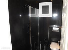 Luxe Badkamer met inloopdouche, vloerverwarming en verlaagd plafond met spotlights. Regen- en handdouche