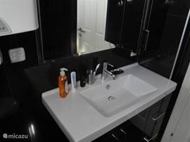 Badkamer zeer luxe afgewerkt met spotlights die gedimd kunnen worden.