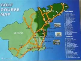 Een overzicht van de golfbanen in de regio's Alicante en Murcia.